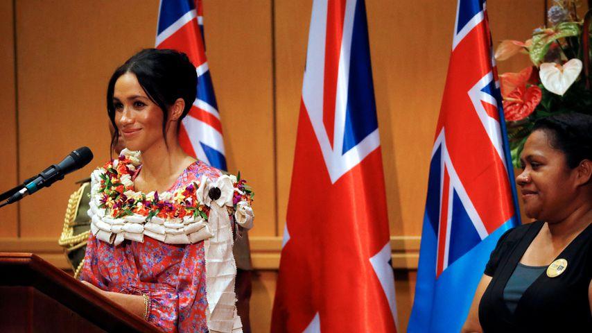 Herzogin Meghan bei ihrer Rede an der Universität in Suva
