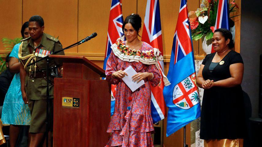 Herzogin Meghan bei ihrer Rede in Suva