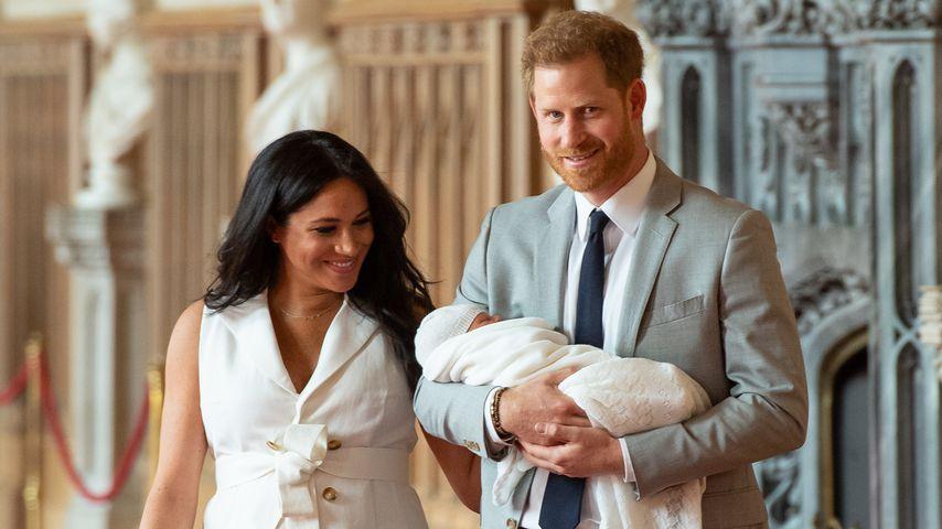 Herzogin Meghan und Prinz Harry mit ihrem Sohn im Mai 2019