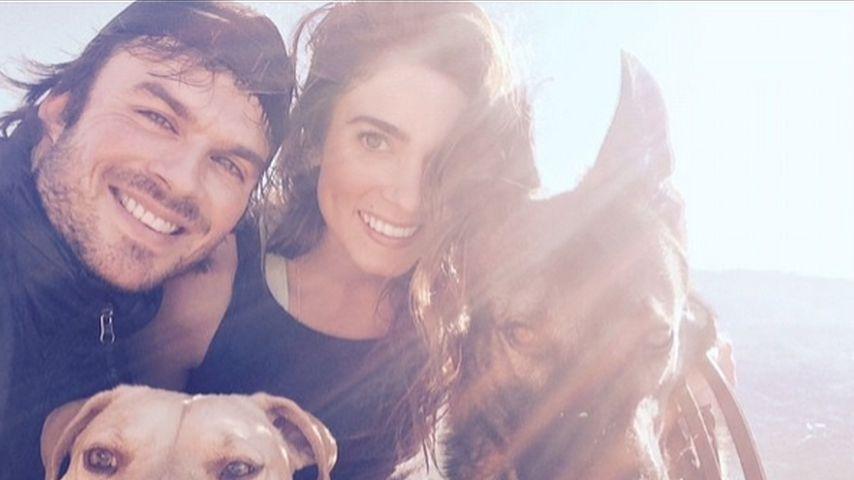 Ian Somerhalder und Nikki Reed mit ihren Hunden