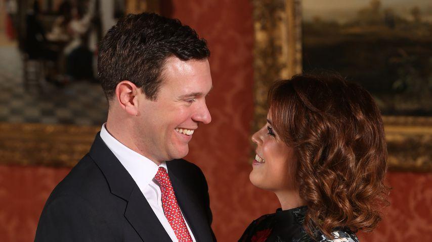 Jack Brooksbank und Prinzessin Eugenie bei der Bekanntgabe ihrer Verlobung im Januar 2018