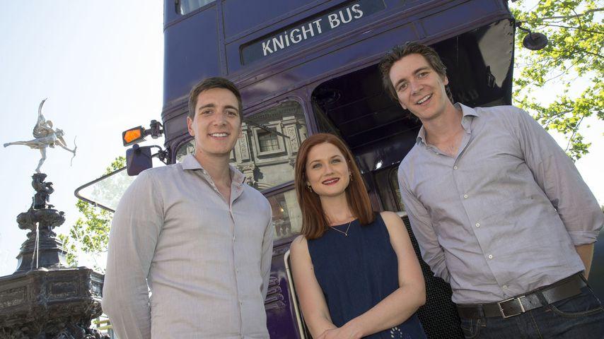 James Phelps, Bonnie Wright und Oliver Phelps im Universal Studio Resort 2014
