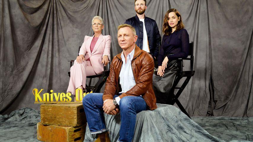 """Jamie Lee Curtis, Daniel Craig, Chris Evans und Ana de Armas, Cast von """"Knives out"""""""