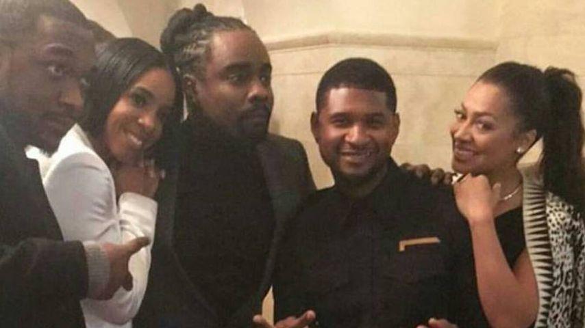 Jay Pharoah mit Kelly Rowland und Usher während der Abschiedsparty von Barack Obama
