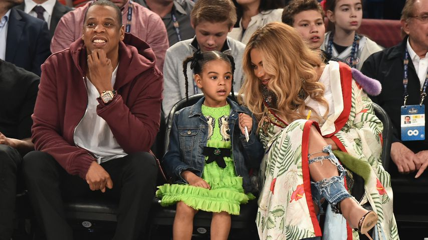Jay Z, Blue Ivy, Beyoncé beim 66th NBA All-Star Game in New Orleans