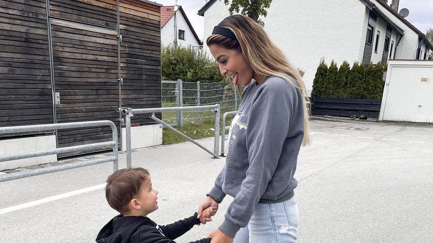 Jenefer Riili mit ihrem Sohn Milan im Mai 2021