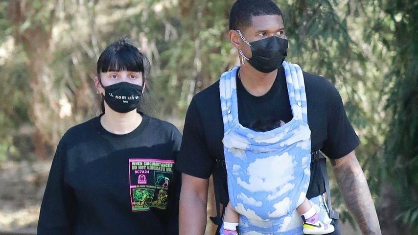 So cool trägt Sänger Usher sein Baby beim Ausflug in L.A.