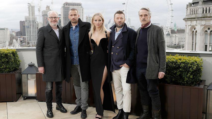 Francis Lawrence, Matthias Schoenaerts, Jennifer Lawrence, Joel Edgerton und Jeremy Irons