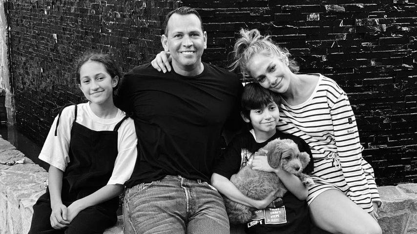 Jennifer Lopez mit ihren Kindern Emme Maribel und Maximilian David sowie Alex Rodriguez