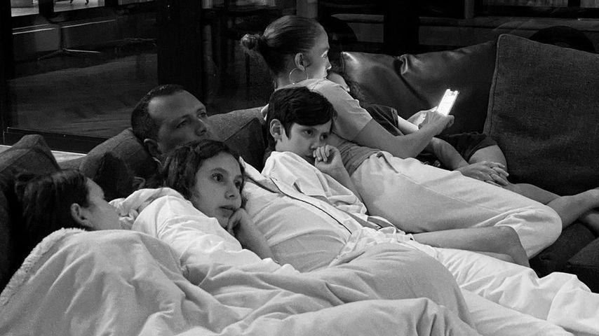 Jennifer Lopez und Alex Rodriguez mit ihren Kindern, 2020