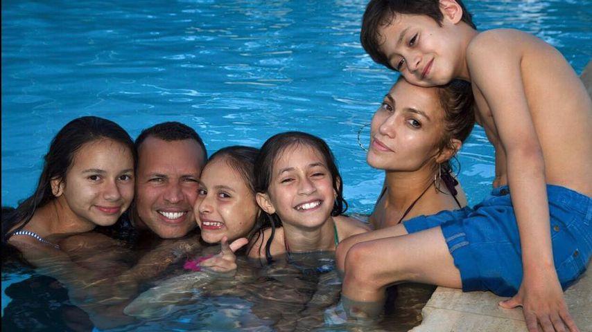 Jennifer Lopez und Alex Rodriguez mit ihren Kids