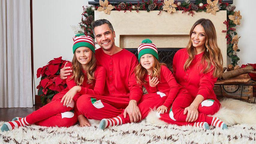 Jessica Alba mit ihrem Mann Cash Warren und den Kindern Honor und Haven