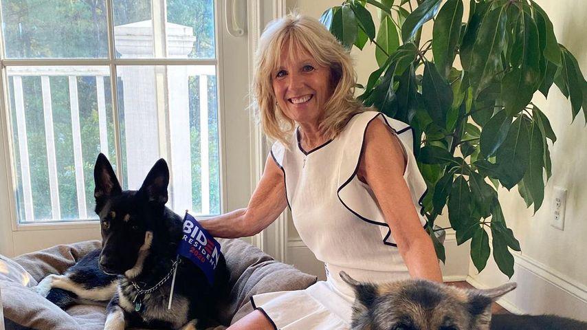 Jill Biden mit den Hunden Major und Champ, 2020