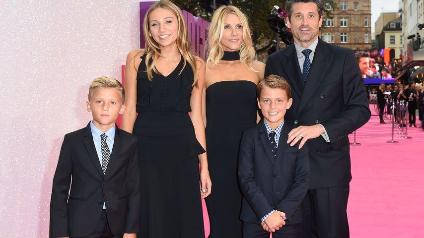 Jillian Fink und Patrick Dempsey mit ihrer Tochter Tallula Fyfe und ihren Zwillingssöhnen Darby und