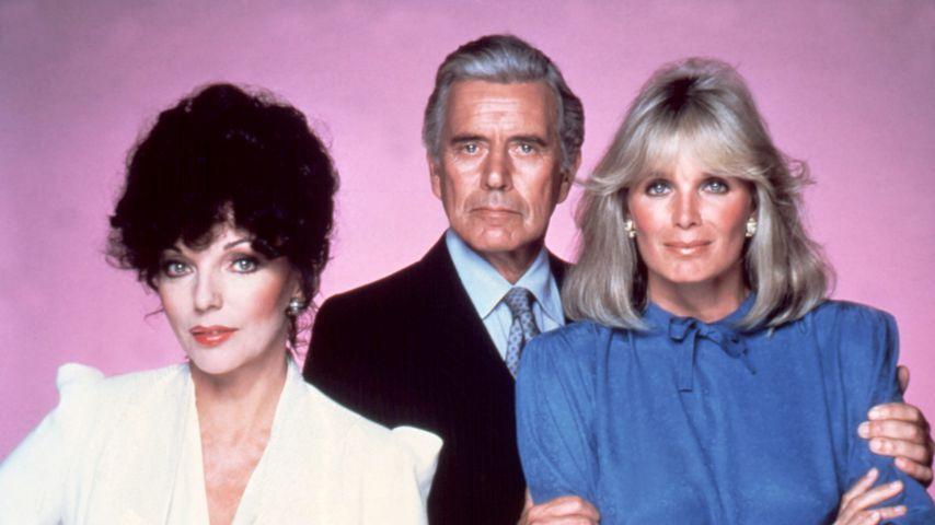 "Joan Collins, John Forsythe und Linda Evans, Darsteller bei ""Denver-Clan"""