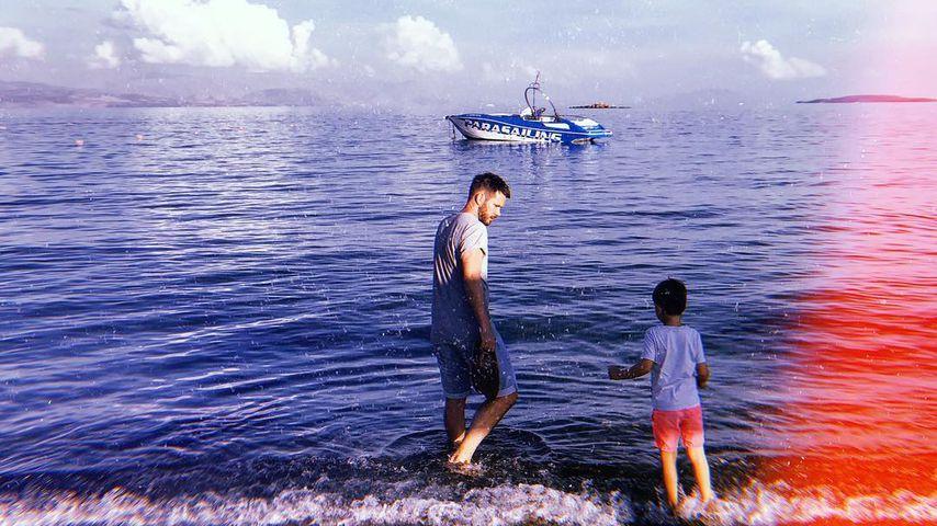 Johannes Strate und sein Sohn Emil im Urlaub in Griechenland