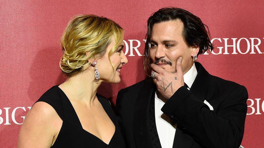 Wiedersehens-Freude: Johnny Depp & Kate Winslet umarmen sich