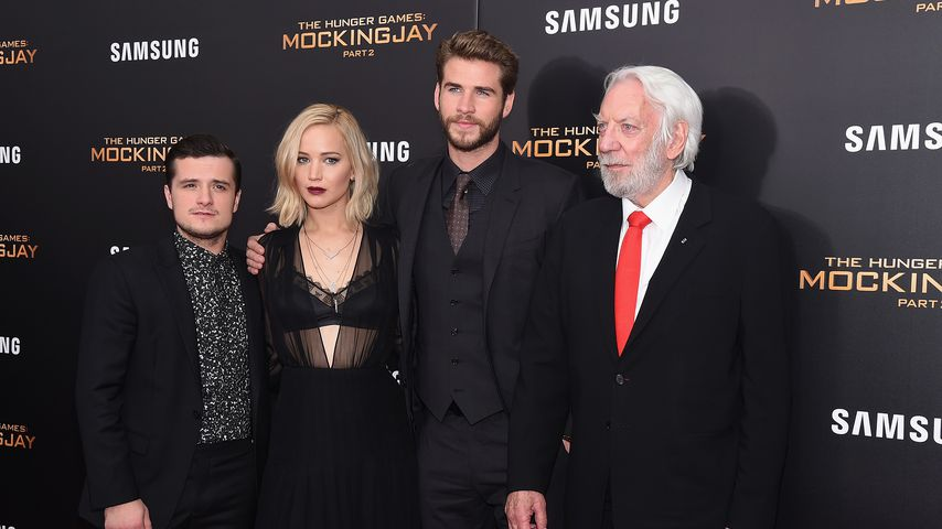 Josh Hutcherson, Jennifer Lawrence, Liam Hemsworth und Donald Sutherland