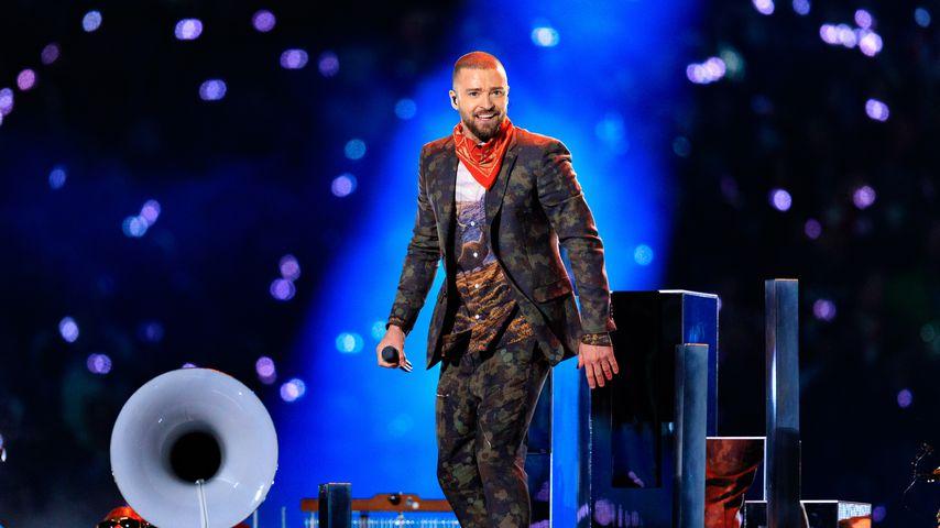 Justin Timberlake bei seinem Auftritt in der Halbzeitpause beim Super Bowl