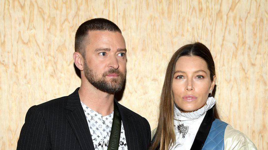 Justin Timberlake und Jessica Biel bei der Paris Fashion Show 2020