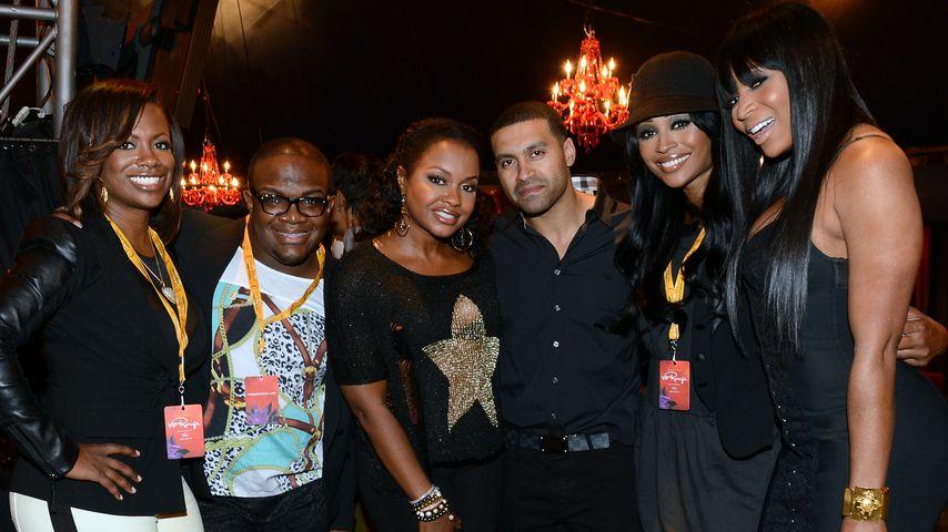 Kandi Burruss, Cynthia Bailey (2.v.r.) und Marlo Hampton (r.) 2012 in Atlanta