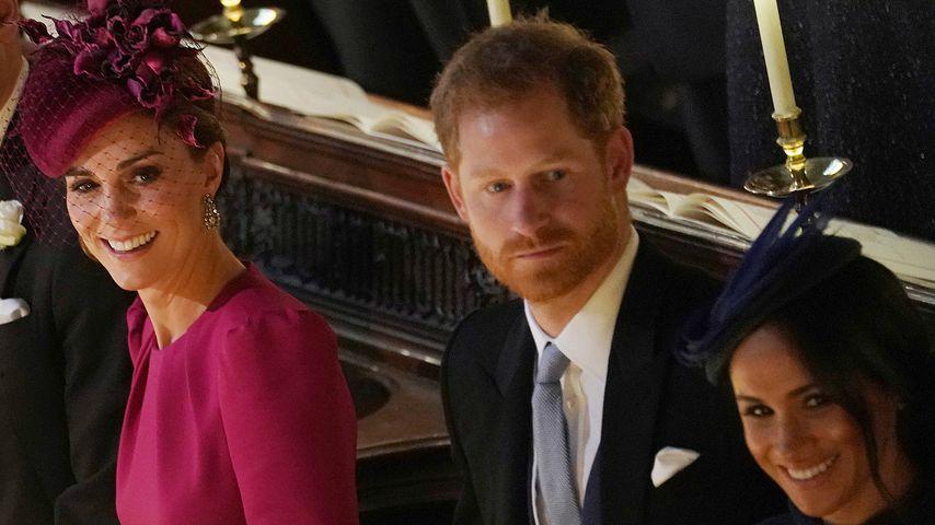 Kate, Harry und Meghan bei der Hochzeit von Prinzessin Eugenie