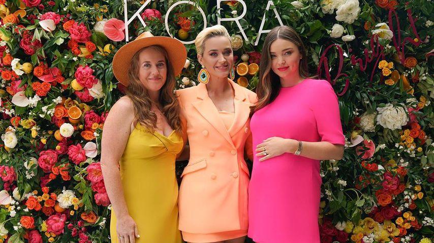 Katy Perry und Miranda Kerr mit einer Freundin beim Start von Mirandas Hautpflegelinie