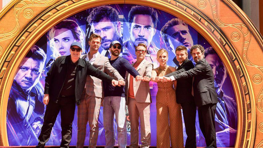 Kevin Feige, Chris Hemsworth, Chris Evans, Robert Downey Jr. u.a. in LA im April 2019