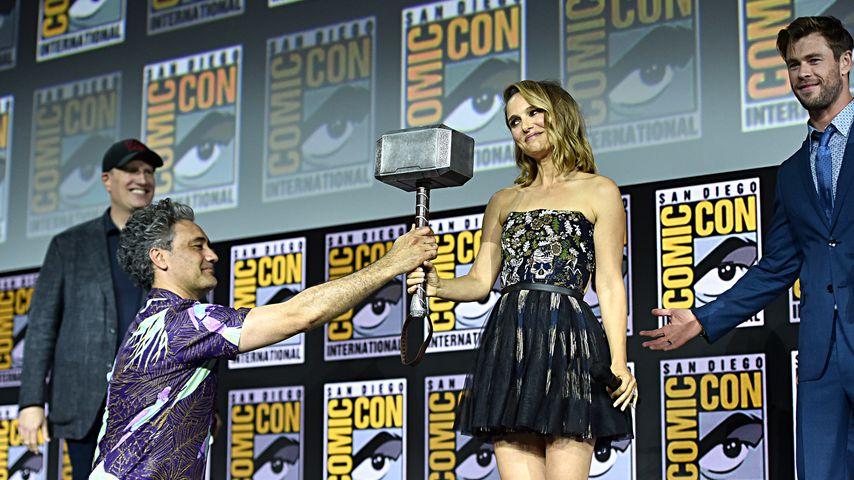 Taika Waititi, Natalie Portman und Chris Hemsworth während der Comic-Con