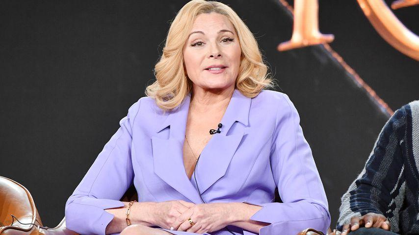 Kim Cattrall auf einer Pressekonferenz in Pasadena im Januar 2020