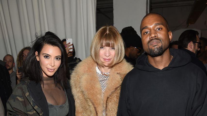 Kim Kardashian, Anna Wintour und Kanye West bei der New York Fashion Week 2015