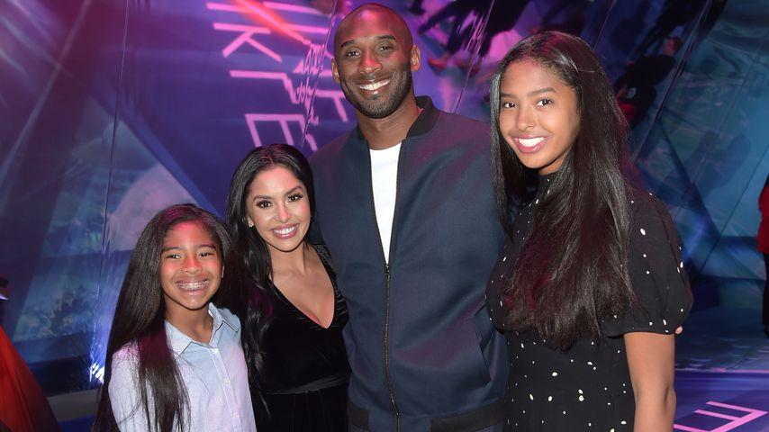 Kobe Bryant mit seiner Frau Vanessa und den Töchtern Gianna und Natalia, Februar 2018