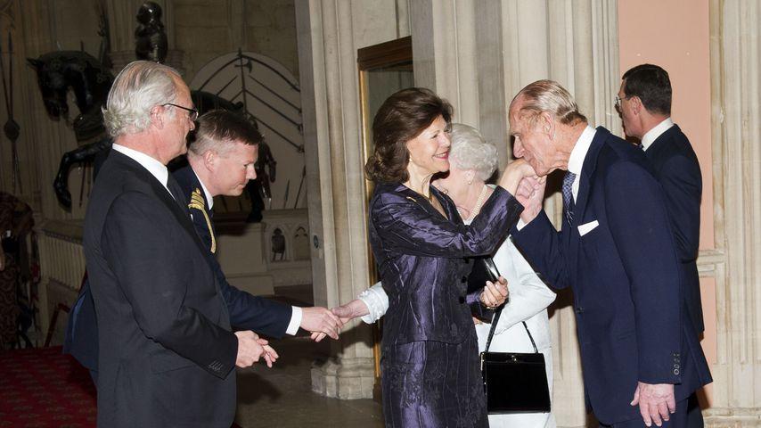 König Carl Gustaf und Königin Silvia von Schweden mit Queen Elizabeth II. und Prinz Philip