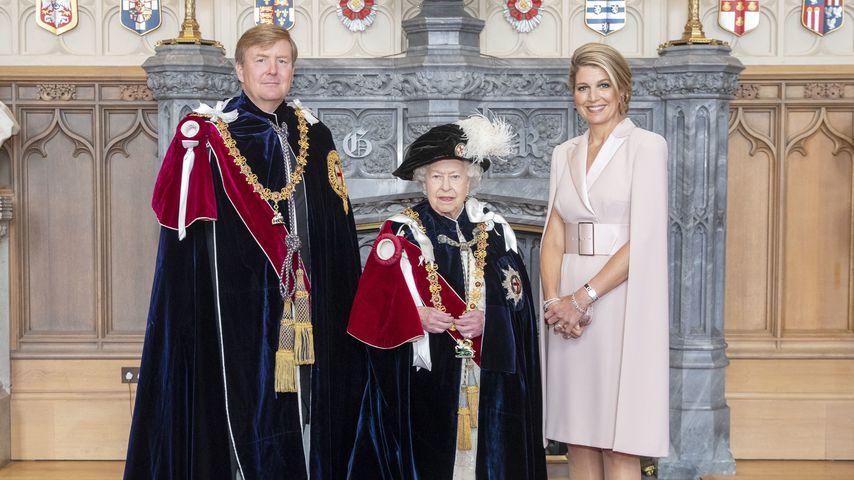 """König Willem-Alexander der Niederlande, die Queen und Königin Máxima während des """"Garter Days"""""""