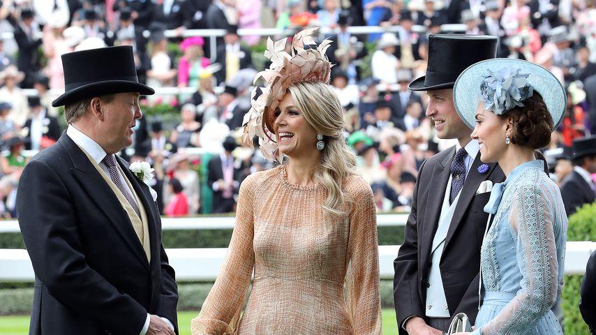 König Willem-Alexander, Königin Maxima, Prinz William und Herzogin Kate in Ascot, Juni 2019