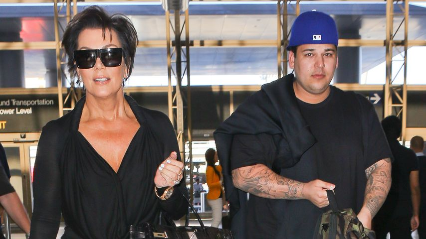 Kris Jenner und Rob Kardashian im Mai 2014 am Flughafen Los Angeles