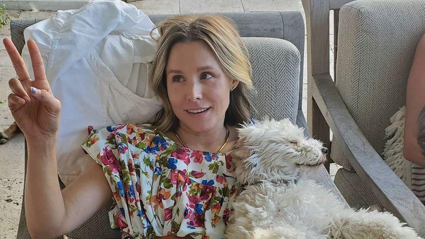 Kristen Bell mit ihrem Hund Frank