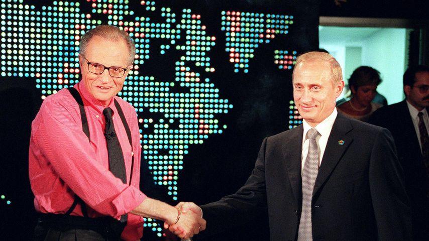 Larry King und Wladimir Putin im September 2000 in New York City