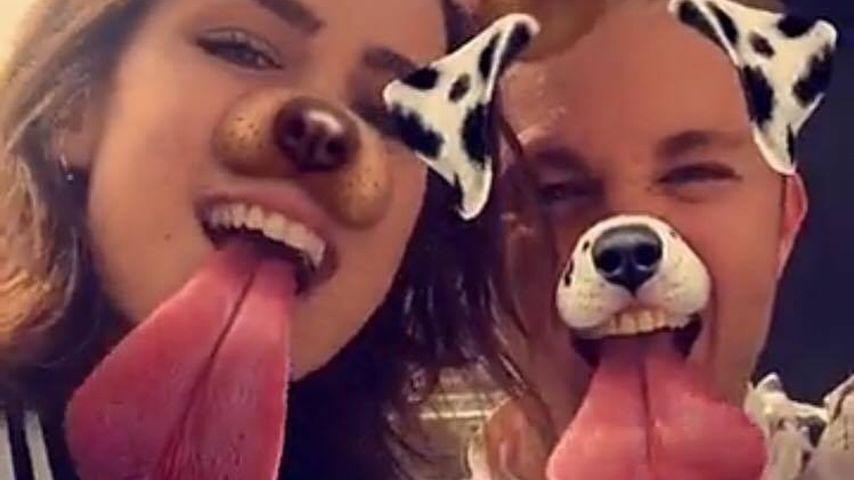 Lena Meyer-Landrut mit Nico Rosberg und dem Snapchat-Hundefilter