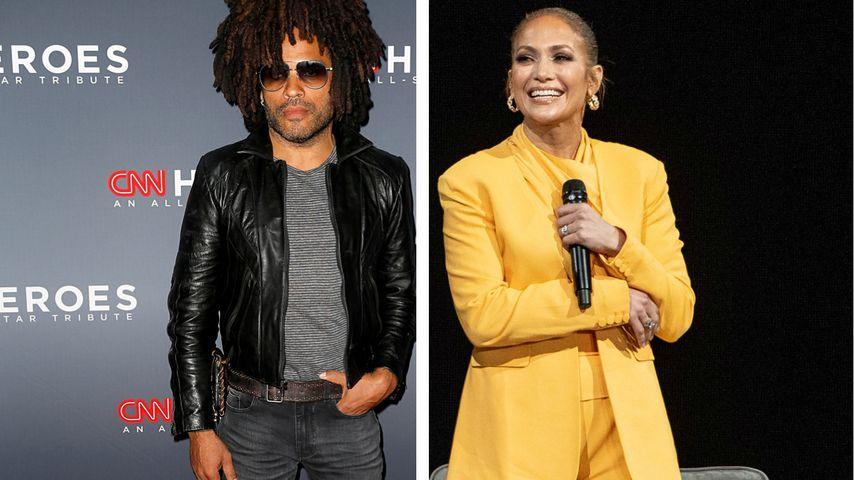 Nanu, warum steht Lenny Kravitz denn auf dem Po von J.Lo?