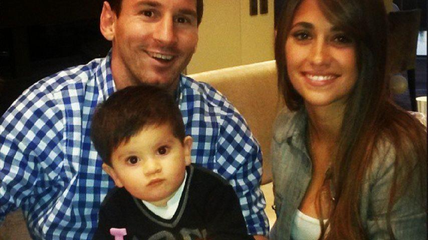 Lionel Messi, Thiago Messi und Antonella Roccuzzo