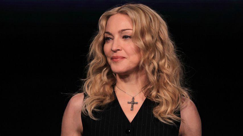 Madonna bei einer Pressekonferenz in Indianapolis im Februar 2012