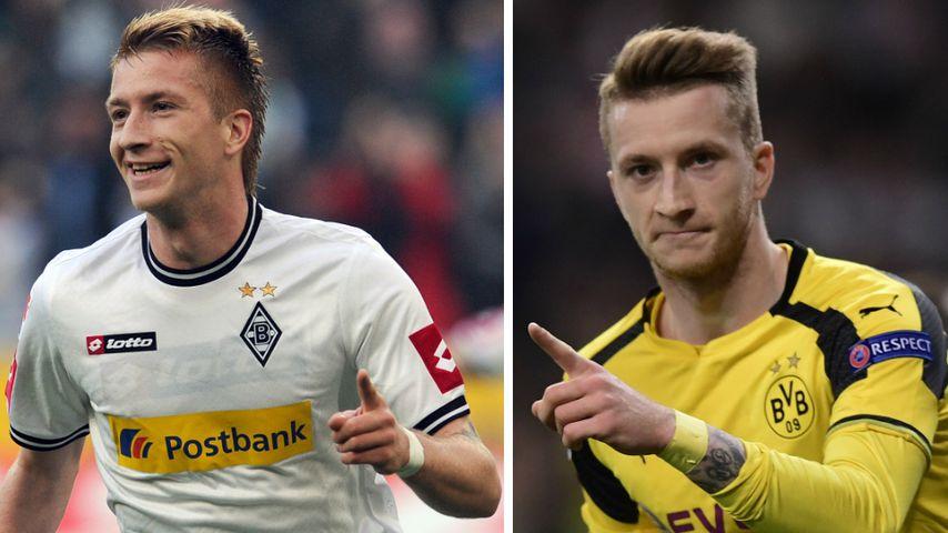 Collage: Marco Reus, Fußballnationalspieler 2011 (links) und 2018 (rechts)