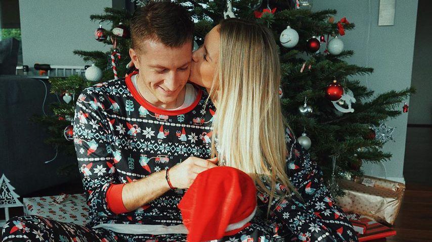 Marco Reus, Scarlett Gartmann und ihre Tochter an Weihnachten, Dezember 2019