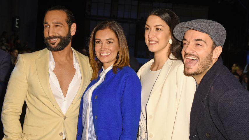 Massimo Sinató, Jana Ina Zarrella, Rebecca Mir & Giovanni Zarrella (v.l.) auf der Fashion Week