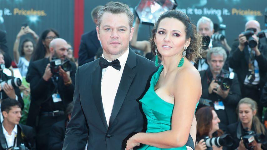 Matt Damon mit seiner Frau Luciana Barroso beim 74. Venedig Film Festival
