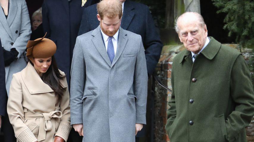 Meghan Markle, Prinz Harry und Prinz Philip in Sandringham
