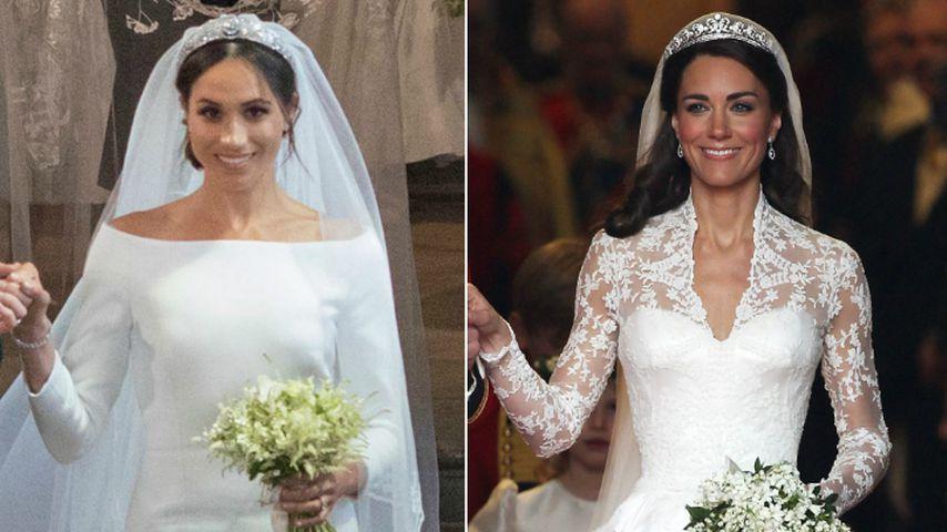 Collage: Meghan Markle und Herzogin Kate in ihren Brautkleidern