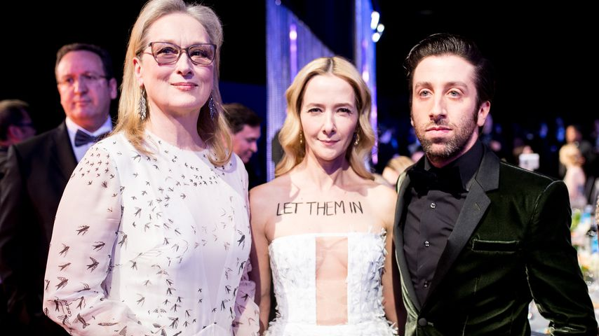 Meryl Streep, Jocelyn Towne und Simon Helberg bei den Screen Actors Guild Awards