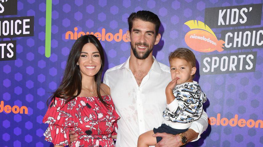 Michael Phelps mit seiner Frau Nicole Johnson und seinem Sohn Boomer Robert